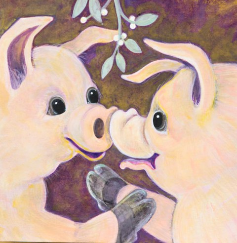 Pigs under Mistletoe